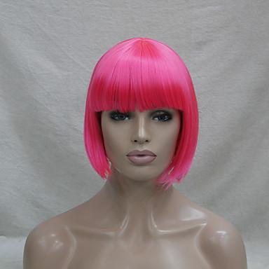 女性 人工毛ウィッグ キャップレス ストレート ピンク ボブスタイル・ヘアカット コスプレ用ウィッグ コスチュームウィッグ