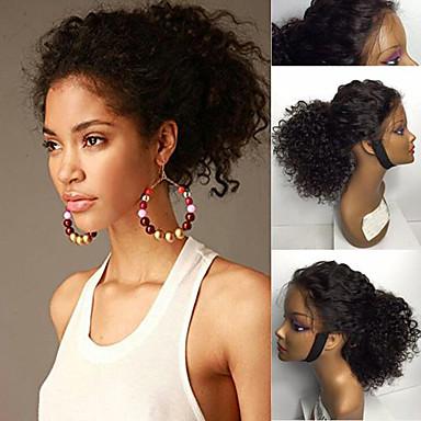 Aidot hiukset Lace Front Peruukki Brasilialainen Kinky Curly Vauvantukalla Tiheys 8-30 inch Luonnollinen hiusviiva / Afro-amerikkalainen peruukki / 100% käsinsidottu Ruskea / Luonto musta Naisten