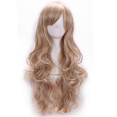 Naisten Synteettiset peruukit Pitkä Laineikas Vaaleahiuksisuus Cosplay-peruukki puku Peruukit