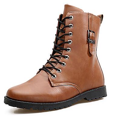 Miehet Bootsit Muotisaappaat Nahka Kevät Syksy Talvi Kausaliteetti Solmittavat Musta Tumman ruskea Alle 1in