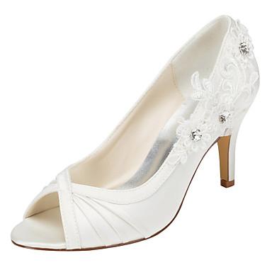 Mulheres Sapatos Cetim com Stretch Primavera / Outono Saltos Salto Agulha Peep Toe Cristais Ivory / Casamento / Festas & Noite