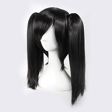 Pelucas sintéticas / Pelucas de Broma Recto Pelo sintético Negro Peluca Mujer Sin Tapa