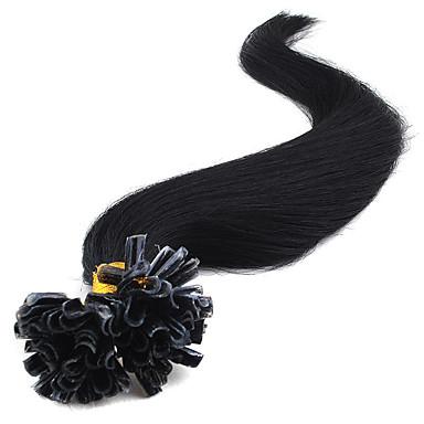 Großhandel 0.5g / Strang 100s / lot / 40g-50g gerade mehrere Farben Remy Haar 7a Klasse Keratin Nagelspitze Haarverlängerungen u-Spitze
