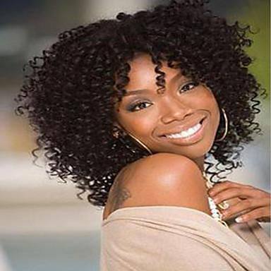 Syntetiske parykker Kinky Curly Afroamerikansk parykk Brun Dame Lokkløs Naturlig parykk Medium Syntetisk hår