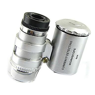 Mini 60x microscopio de la joyería llevado ultravioleta detector de moneda lupa lupa portátil lupa ojo de cristal con la luz llevada