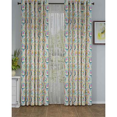 Barra no Interior Anéis Presilhas Duplo Plissado Um Painel Tratamento janela Designer , Pontos Polka Sala de Estar Poliéster Material