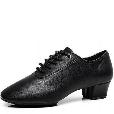 Homens Sapatos de Dança Latina Courino Salto Salto Baixo Não Personalizável Sapatos de Dança Preto / Interior