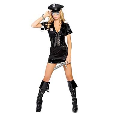 Politi karriere Kostymer Cosplay Kostumer Party-kostyme Dame Barne Halloween Karneval Festival / høytid Halloween-kostymer Svart Ensfarget