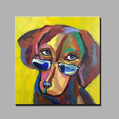 Maalattu Abstrakti Eläin Neliö,Moderni 1 paneeli Kanvas Hang-Painted öljymaalaus For Kodinsisustus
