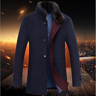 男性 カジュアル/普段着 秋 / 冬 ソリッド コート,シンプル ブルー / グレイ ウール 長袖 厚手