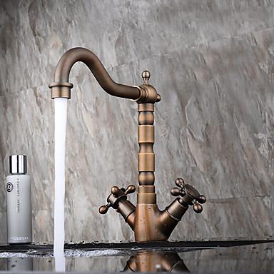 Moderne Antikk Centersat Utbredt Keramisk Ventil To Håndtak et hull Antikk Kobber, Baderom Sink Tappekran