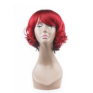 Synthetische Perücken Wellen Mit Pony Synthetische Haare Rot Perücke Damen Kappenlos