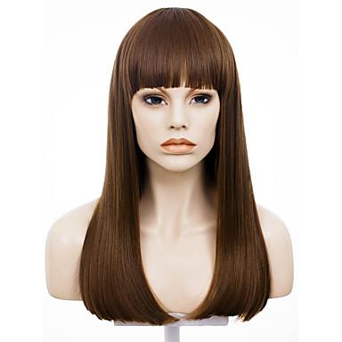 Vrouw Synthetische pruiken Zonder kap Recht Beige Natuurlijke haarlijn Natuurlijke pruik Kostuumpruiken