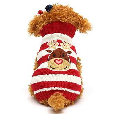 Kat Hund Gensere Hundeklær Reinsdyr Svart Rød Grønn Blå Bomull Kostume For kjæledyr Herre Dame Søtt Jul