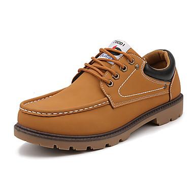 Miesten kengät Mokkanahka Kevät / Syksy Comfort Oxford-kengät Kävely Musta / Keltainen / Ruskea