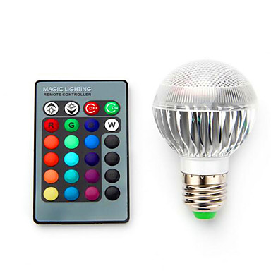 1pc 3.5 W 220 lm E14 / B22 / E26 / E27 Smart LED-lampe 1 LED perler Høyeffekts-LED Mulighet for demping / Fjernstyrt / Dekorativ RGB 85-265 V / 1 stk. / RoHs