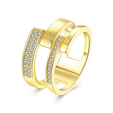 Feminino Anéis Grossos Zircônia cúbica Jóias de Luxo Europeu Moda Zircão Zircônia Cubica Cobre Imitações de Diamante Forma Geométrica