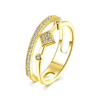 Dames Bandringen Zirkonia Luxe Sieraden Europees Modieus Zirkonia Kubieke Zirkonia Koper Gesimuleerde diamant Rechthoekige vorm