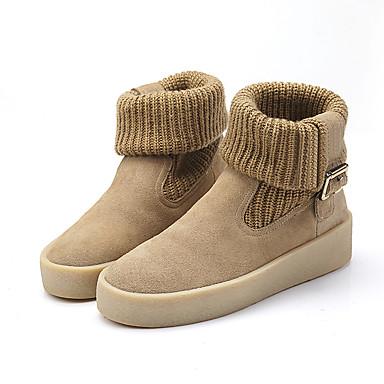 Feminino Sapatos Sintético Primavera Outono Inverno Conforto Botas Sem Salto Elástico Para Casual Preto Bege