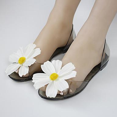 Dames Schoenen Kunstleer Zomer Comfortabel Sandalen Platte hak Doorschijnende Hiel Bloem Voor Causaal Zwart Lichtbruin