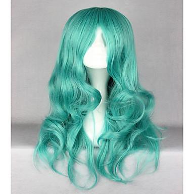 人工毛ウィッグ ウェーブ 合成 グリーン かつら 女性用 ロング キャップレス