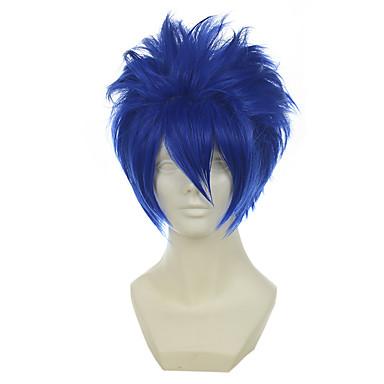 Syntetiske parykker / Kostymeparykker Dame Rett Blå Syntetisk hår Blå Parykk Lokkløs Blå OUO Hair
