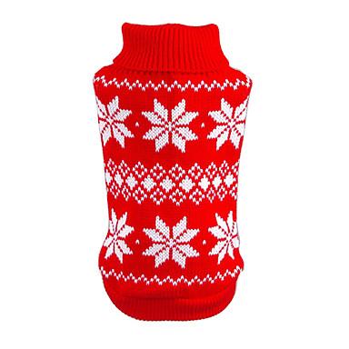 Kat Hund Gensere Jul Hundeklær Snøfnugg Rød Blå Bomull Kostume For kjæledyr Herre Dame Nyttår