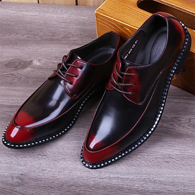 Miesten kengät Nahka Kevät Syksy Mary Jane Oxford-kengät Solmittavat varten Kausaliteetti Toimisto & ura Musta Vaalean harmaa Punainen