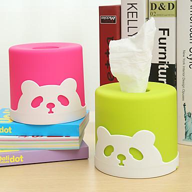 ティッシュボックスティッシュ円筒形のプラスチック製のかわいいパンダのナプキン紙(ランダムな色)
