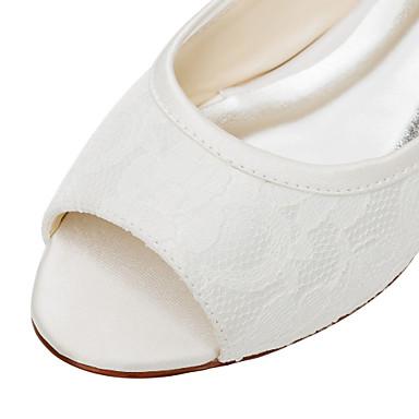 ouvert Evénement Automne amp; Printemps Mariage Ballerines Talon Ivoire Soirée Eté Chaussures Elastique Bout Femme 05336100 Satin Plat 6qXvfBZ