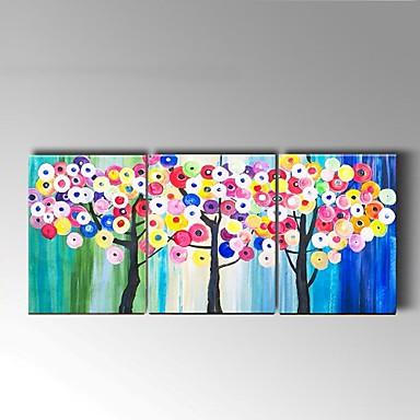 Maalattu Asetelma / Kukkakuvio/Kasvitiede öljymaalauksia,Moderni / Pastoraali 3 paneeli Kanvas Hang-Painted öljymaalaus For Kodinsisustus