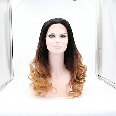 Naisten Synteettiset peruukit Lace Front Luonnolliset aaltoilevat Black / Medium Auburn Luonnollinen hiusviiva Luonnollinen peruukki