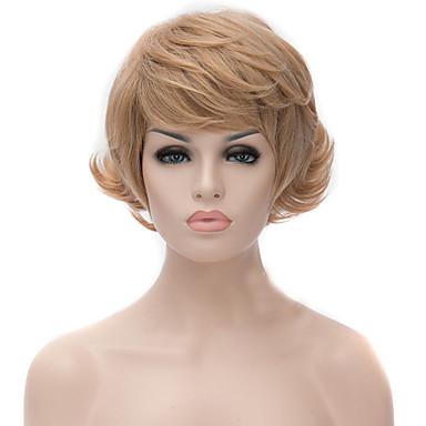 Χαμηλού Κόστους Συνθετικές περούκες με δαντέλα-Συνθετικές Περούκες Κυματιστό Minaj Στυλ Ασύμμετρο κούρεμα Χωρίς κάλυμμα Περούκα Χρυσό Ξανθό Φράουλας Συνθετικά μαλλιά Γυναικεία Φυσική γραμμή των μαλλιών Χρυσό Περούκα Κοντό