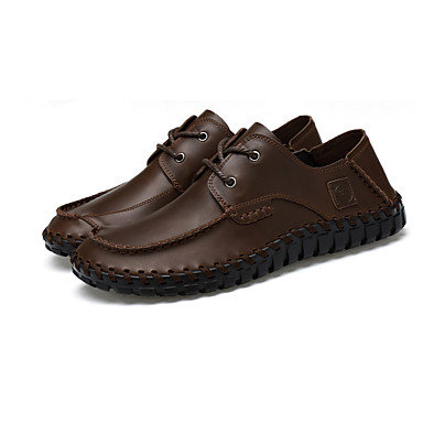 Homens sapatos Couro Primavera Outono Conforto Oxfords Cadarço para Casual Preto Marron Cinza-acastanhado
