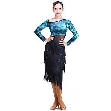 Latin Dance Women's Performance Chinlon / Mesh / Flannel Long Sleeve Dress