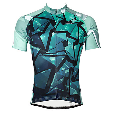 ILPALADINO Hombre Manga Corta Maillot de Ciclismo - Azul Geométrico Bicicleta Camiseta / Maillot Top Transpirable Secado rápido Resistente a los UV Deportes Poliéster 100% Poliéster Terileno Ciclismo