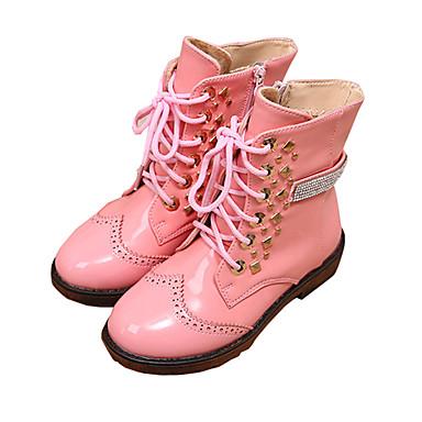 女の子 靴 PUレザー 冬 コンフォートシューズ ブーツ ウォーキング リベット ジッパー 用途 カジュアル ドレスシューズ ブラック フクシャ ピンク