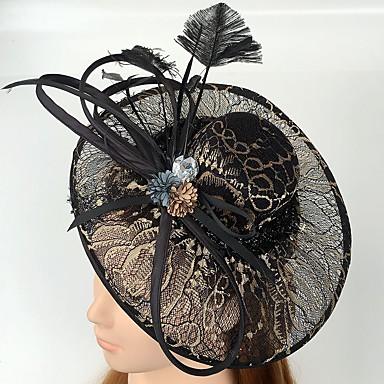 チュール キュービックジルコニア レース 羽毛 ネット フェザー - 魅力的な人 帽子 1 結婚式 パーティー イベント/パーティー カジュアル かぶと