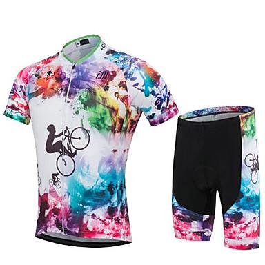 Pyöräily jersey ja shortsit Unisex Lyhythihainen Pyörä Vaatesetit Nopea kuivuminen Anatominen tyyli Ultraviolettisäteilyn kestävä