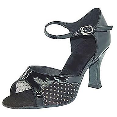 Mulheres Sapatos de Dança Latina / Sapatos de Jazz / Sapatos de Salsa Courino Sandália / Salto Presilha Salto Personalizado Personalizável Sapatos de Dança Preto / Interior / Espetáculo