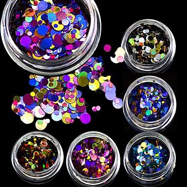 1 pcs Brillante Lentejuelas Diseños de Moda / Lentejuelas / Espumoso arte de uñas Manicura pedicura Fiesta / Diario / Cita Elegante / Brillos Y Estrellas