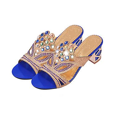cheap Women's Sandals-Women's Crystal Sandals Glitter / PU(Polyurethane) Summer Slingback Sandals Walking Shoes Chunky Heel / Block Heel Pointed Toe / Open Toe Sparkling Glitter Beige / Dark Blue / Royal Blue