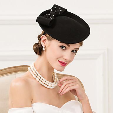 voordelige Hoeden-Wol / Strass Kentucky Derby Hat / hatut met 1 Bruiloft / Speciale gelegenheden  / Causaal Helm