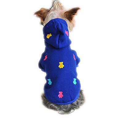 ネコ 犬 パーカー パジャマ 犬用ウェア キュート カジュアル/普段着 ベア グレー イエロー レッド ブルー コスチューム ペット用