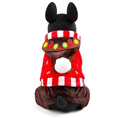 猫用品 犬用品 パーカー ジャンプスーツ 犬用ウェア 冬 春/秋 トナカイ キュート クリスマス 新年 Brown レッド