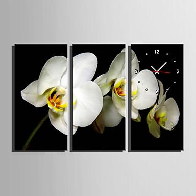 コンテンポラリー フローラル 壁時計,長方形 キャンバス 30 x 60cm(12inchx24inch)x3pcs/ 40 x 80cm(16inchx32inch)x3pcs 屋内 クロック
