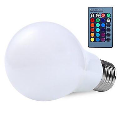 10W E26/E27 LED-globepærer A60(A19) 25 SMD 5050 800lm lm RGB Dimbar Fjernstyrt Dekorativ V 1 stk.