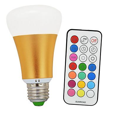 900-1200 lm E26/E27 LED-pallolamput A60(A19) 1 ledit COB Infrapunasensori Himmennettävissä Kauko-ohjattava Koristeltu Kylmä valkoinen RGB