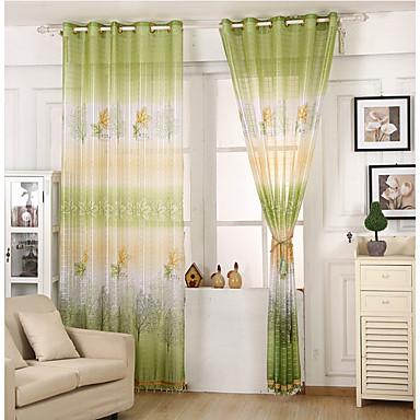 Sheer Curtains Shades Quarto das Crianças Folha Poli / Mistura de Algodão Estampado
