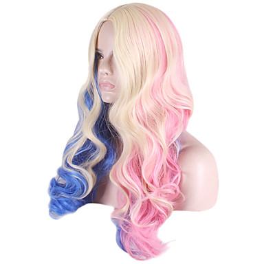 Naisten Synteettiset peruukit Suojuksettomat Runsaat laineet Vaaleahiuksisuus Otsatukalla Cosplay-peruukki puku Peruukit